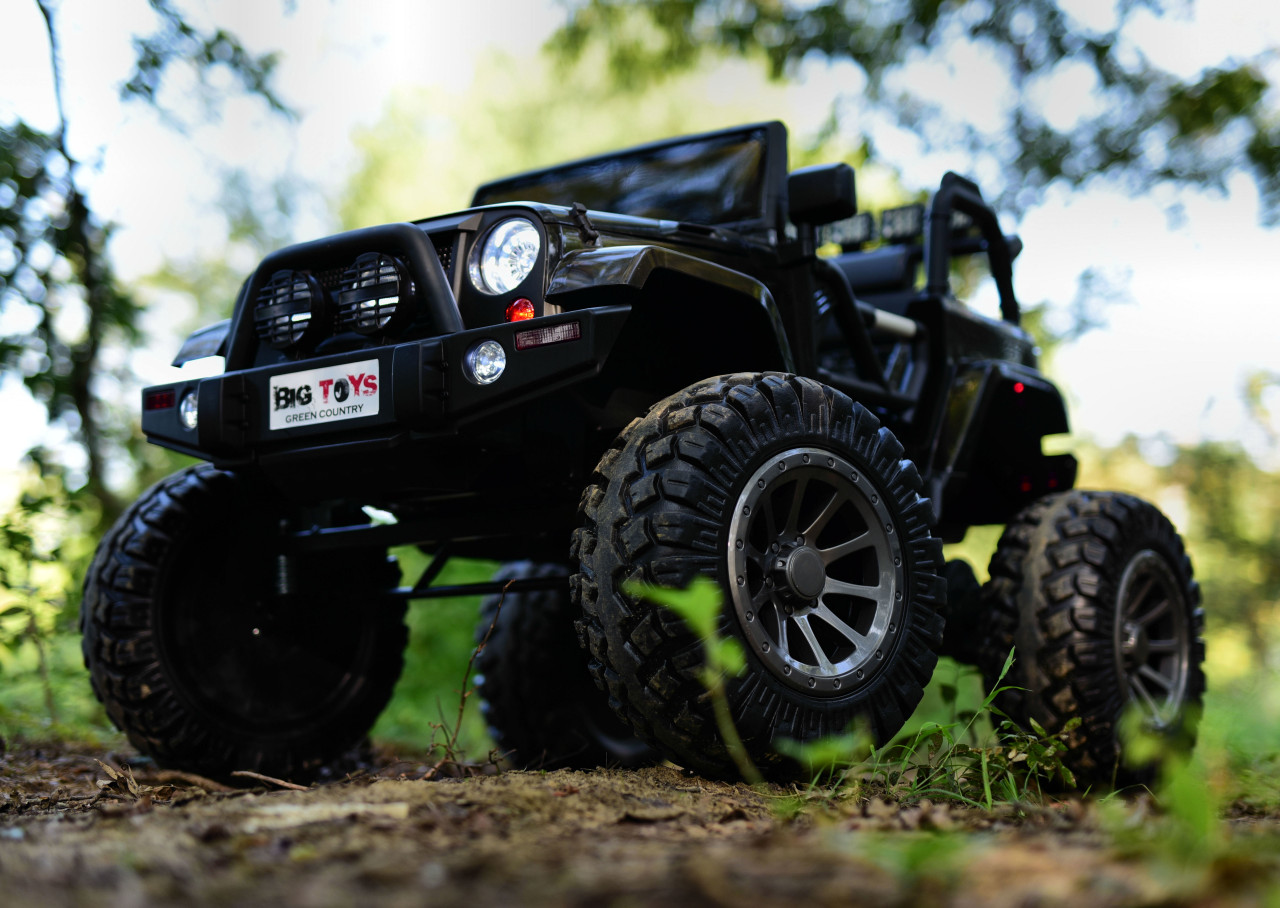 24v Monster Lifted Ride On Crawler Truck W Huge Wheels Parental Rc Remote Black Big Toys Green Country