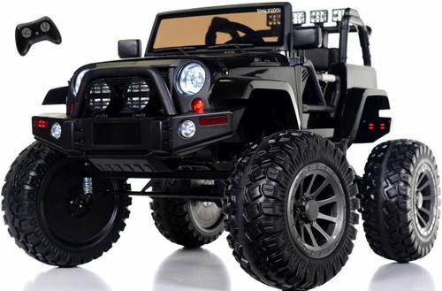 24v Monster Lifted Ride On Crawler Truck w/ HUGE Wheels & Parental RC Remote - Black