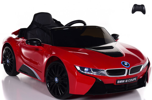 12V BMW I8 Ride On Car w/ remote control + upgraded motors & leather seats - Red