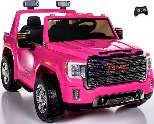 4x4 GMC Denali Ride On Truck w/ Leather Seat & Rubber Tires - Pink