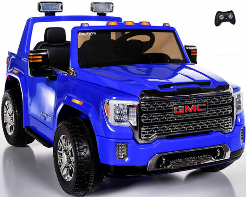 4x4 GMC Denali Ride On Truck w/ Leather Seat & Rubber Tires - Blue