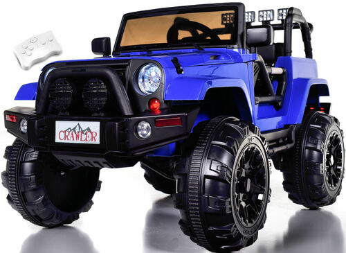 Lifted Ride On Crawler Truck w/ Big Wheels & Parental RC Remote - Blue