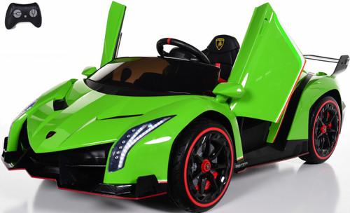 Lamborghini Veneno All Wheel Drive Ride On Car w/ Leather Seat & Rubber Tires - Green