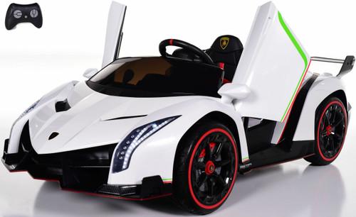 Lamborghini Veneno All Wheel Drive Ride On Car w/ Leather Seat & Rubber Tires - White