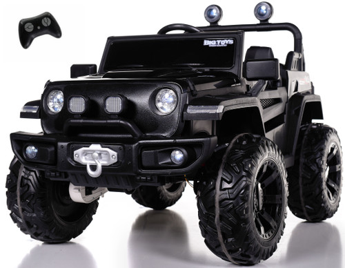 4x4 Trekker Ride On Truck w/ Leather Seat & Rubber Tires - Black