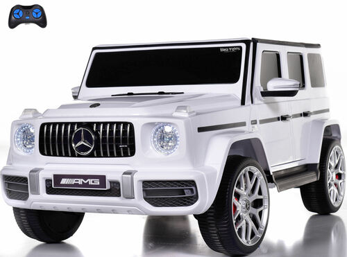 24v Mercedes G63 Ride On SUV w/ All Wheel Drive & Rubber Tires - White