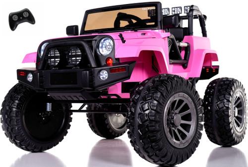 24v Monster Lifted Ride On Crawler Truck w/ HUGE Wheels & Parental RC Remote - Pink
