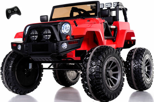 24v Monster Lifted Ride On Crawler Truck w/ HUGE Wheels & Parental RC Remote - Red