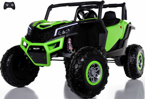 24v Slasher Ride On UTV w/ Rubber Tires & Leather Seat - Green