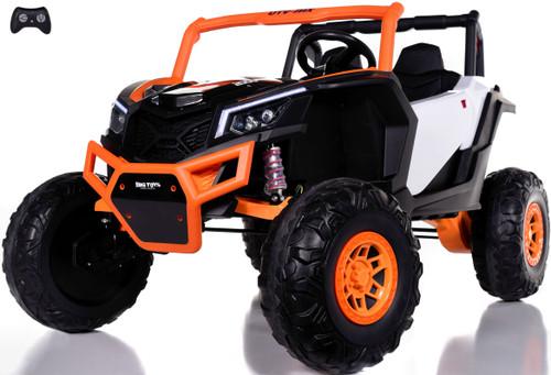 24v Slasher Ride On UTV w/ Rubber Tires & Leather Seat - Orange