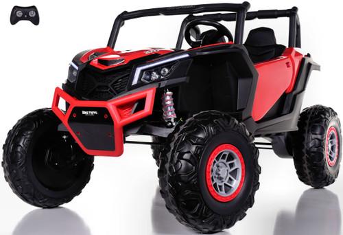 24v Slasher Ride On UTV w/ Rubber Tires & Leather Seat - Red