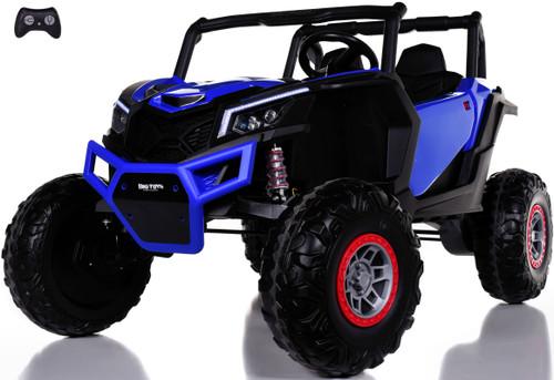 24v Slasher Ride On UTV w/ Rubber Tires & Leather Seat - Blue