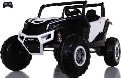 24v Slasher Ride On UTV w/ Rubber Tires & Leather Seat - White