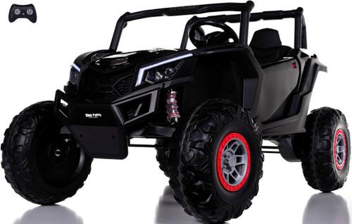 24v Slasher Ride On UTV w/ Rubber Tires & Leather Seat - Black