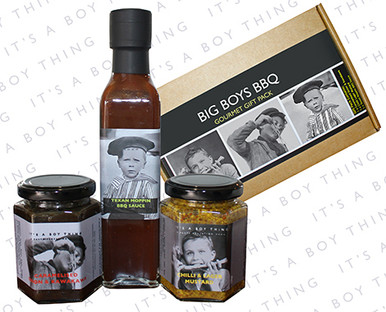Make him king of the BBQ with this tasty pack of BBQ gourmet condiments!  A rich smoky Texan Moppin BBQ Sauce – perfect to serve with all BBQ meats, he can spice up all his BBQ treats with a dab of Chilli & Lager Mustard and add intense flavour to everything with Caramelised Onion & Kawakawa.