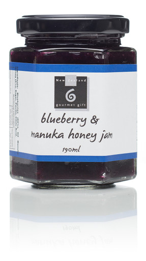 The mellow citrus like flavour of blueberries is sweetened with manuka honey to make a delicious jam. Great with pancakes, muffins, croissants and scones. Warm & serve with ice cream or baking. Serve as a condiment or in sandwiches. Perfect with cheeses 195ml