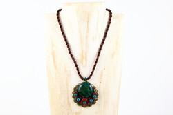 Large peacock pendant necklace handmade in Yunnan