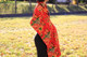 red fairtrade flower shawl