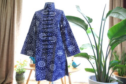 Blue-and-white China pattern Tai Chi cotton coat