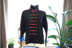 Black cotton Tai Chi woman's jacket with Mandarin buttons