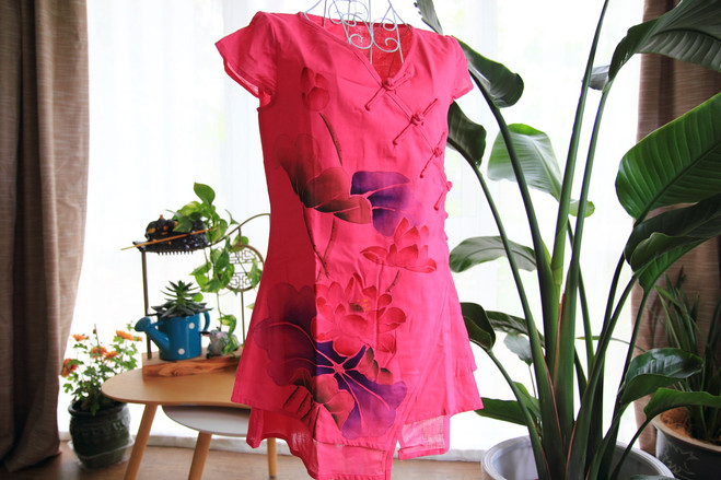 Short sleeve qipao inspired pink water lilies top