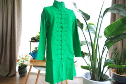 Green cotton woman's coat with Mandarin buttons