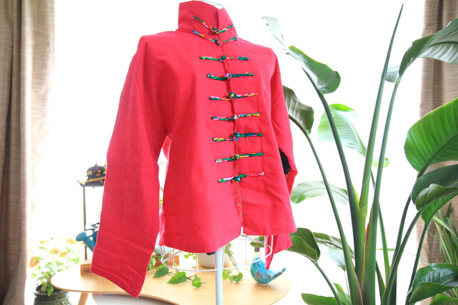 Pink cotton Tai Chi woman's jacket with Mandarin buttons