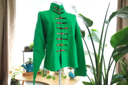 Green cotton Tai Chi woman's jacket with Mandarin buttons