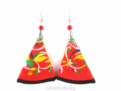 Fairtrade large red earrings
