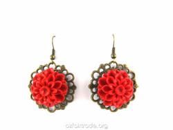 Stunning large red flower earrings