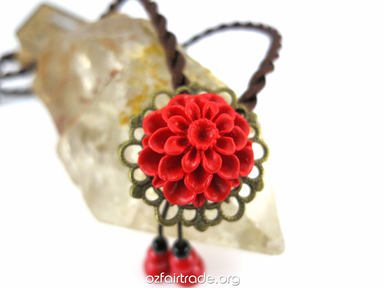 Stunning Red Flower Necklace For A Beautiful Girl Oz Fair Trade