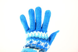 fair trade winter blue gloves
