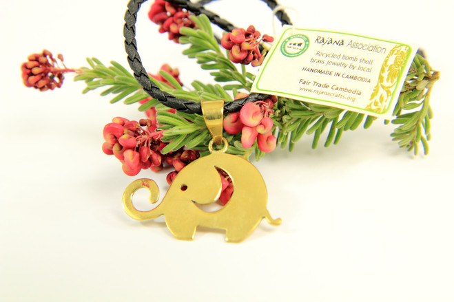 Fair trade recycled bombshell elephant necklace