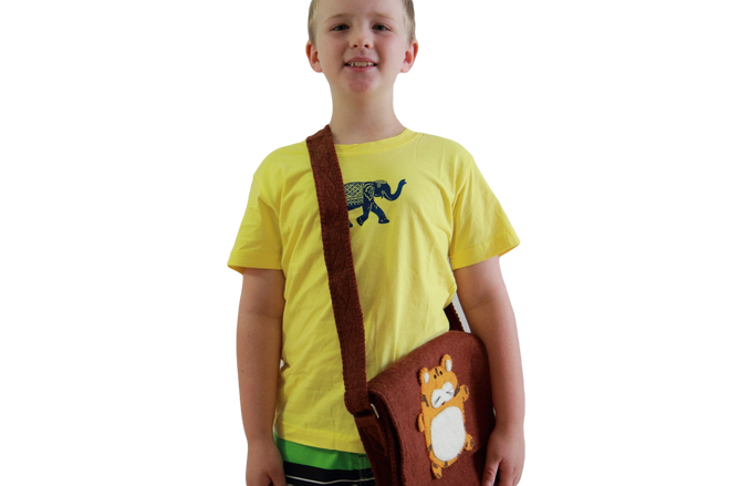 fair trade wool felt kids tiger shoulder bag