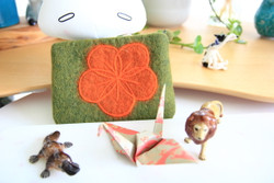 Green wool felt flower pouch