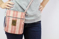 Passport bag with zip (pink stripe)