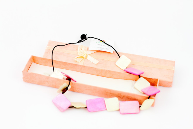 pink ethical handmade necklace gift