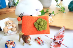 orange wool felt purse kids
