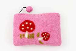 pink wool felt purse kids