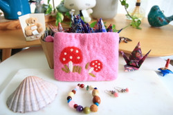 strawberry wool felt purse kids