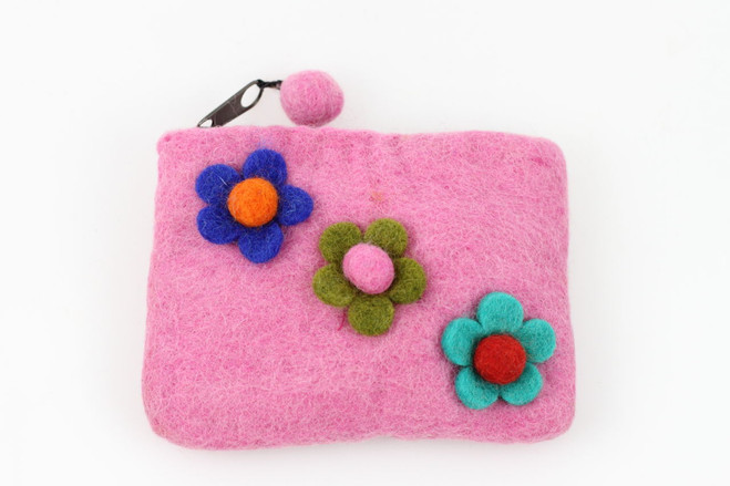 pink flower pouch kids