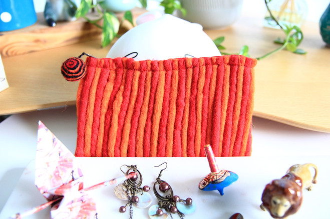 orange wool felt purse