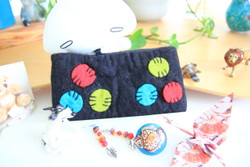Black wool felt pouch