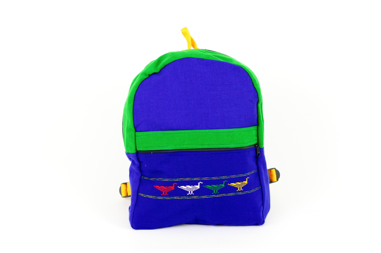 c5c3aac90 Lucky bird school bag with hand embroidered patterns - Oz Fair Trade
