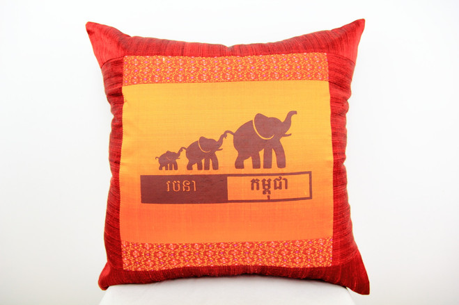 Elephant handwoven silk cushion with eco insert