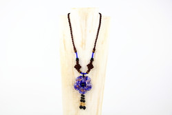 Blue glass flower long necklace handmade in Yunnan