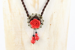 Red rose retro necklace handmade in Yunnan