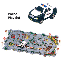 Puzzle Police Car, Black and white.