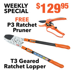 Geared Ratchet Lopper & Ratchet Hand Pruner Shears