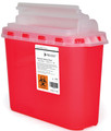 Prevent® 2-Piece Sharps Container  11H X 12W X 4.75D Inch 5.4 Quart Red Base Horizontal Entry Lid (Case of 20) (McKesson 2269)